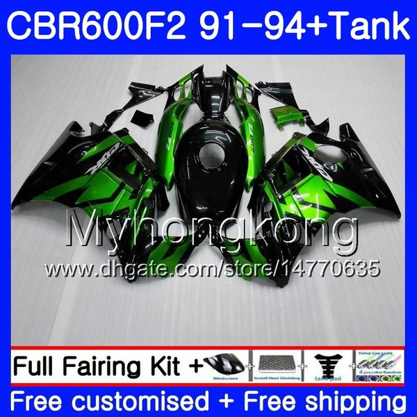 Body hot green For HONDA CBR 600 F2 FS CBR600 F2 1991 1992 1993 1994 1MY.60 CBR600FS CBR 600F2 CBR600RR CBR600F2 91 92 93 94 Fairing kit