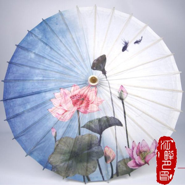 Elegant Blue Bottom Color Oil Paper Umbrella Lotus with Fruit Paper Parasol Fish in Pond Field Umbrella Party Show Hanging