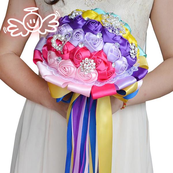 2018 Newest Wedding Bridal Bouquets Handmade Flowers Peals Crystal Rhinestone Rose Wedding Supplies Bride Holding Brooch Bouquet CPA1543