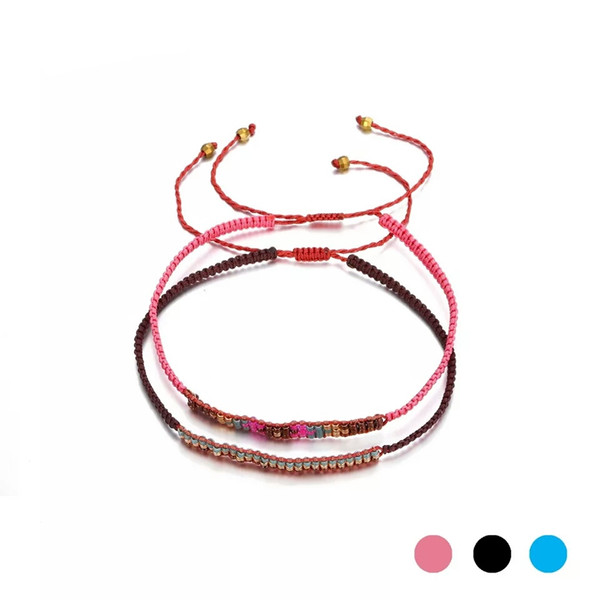 Handmade Glass  String Bracelet Rope Chain Weave Bracelets Simple Design Gifts For Girls Minimalist Fashion Jewelry