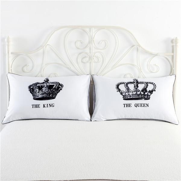1 paio / set Bianco King Queen Federe Pillow Love Coppia Federa His and Hers Copertura del cuscino personalizzato per Anniversary Regalo di nozze
