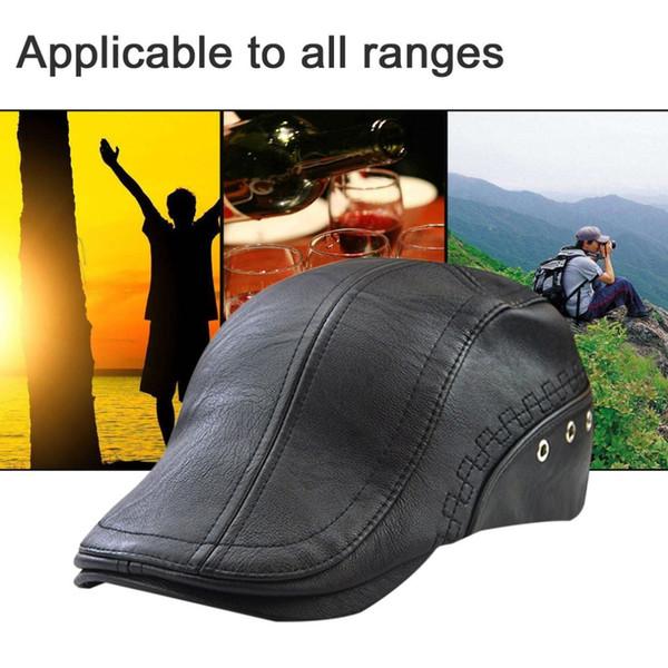 JAMONT gorras de cuero de la PU de los hombres 2018 otoño invierno nuevo  macho ajustable 50ff2109790