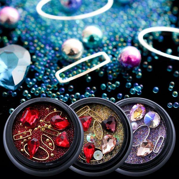 Strass Métal pour Nail Art Glitter Décorations Design Non Hotfix Pierres Diamant AB Couleur Différents Taille Forme Bijoux