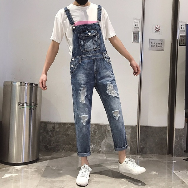 Bib overall jeans ripped off slim fit jeans jumpsuit men denim trousers Fashion Korean leisure one piece jeans singer costumes