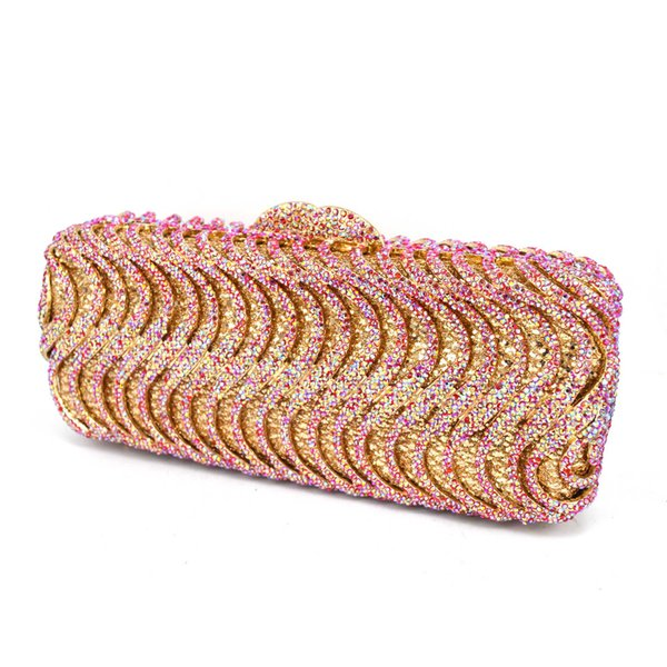 17 color Luxury Crystal Evening Bag AB Fuschia Designer Party Wedding Women Clutch Bag banquet Bag Ladies Purse SC578