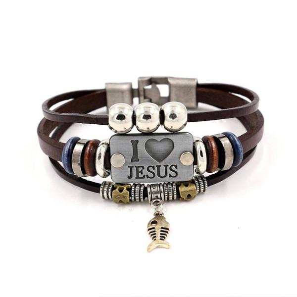 AMO JESUS Charm Bracelets Vintage Fish colgante Christian pulseras de cuero de múltiples capas para hombres mujeres brazalete KKA1905
