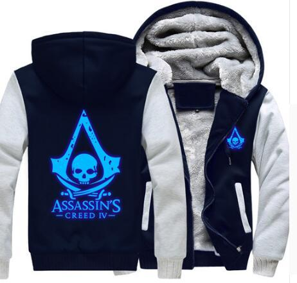 USA size Men Women Assassins Creed Luminous Jacket Sweatshirts Thicken Hoodie Coat Clothing Casual