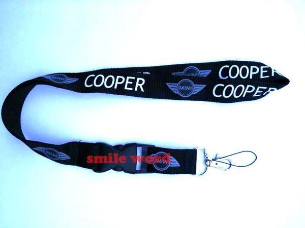 NEW Wholesale 10 pcs car logo MINI Cooper Key Chain Lanyard Cell Phone Ipod Strap Neck Pass Logo Keychains ID