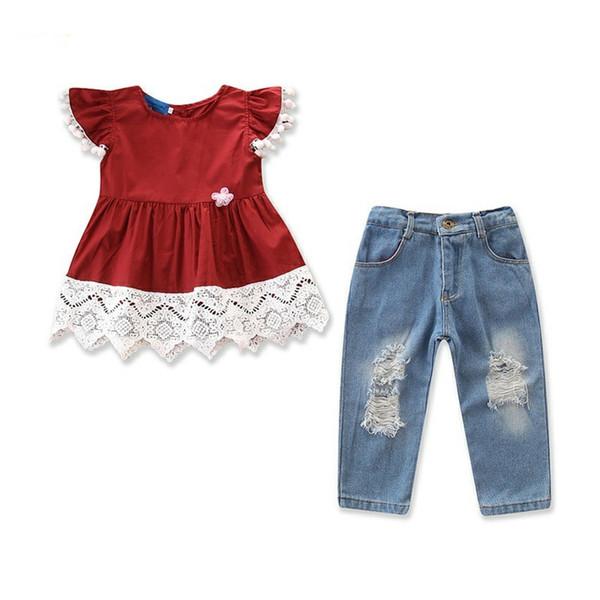 Baby Mädchen Kleidung Hosen Kinder Mode Spitze Patchwork Tops + Zerrissene Jeans 2 Stück Set Kinder Kleidung