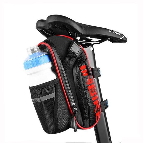 Waterproof Bicycle Saddle Bag Cycling Seat Bag MTB Bike Seatpost Cycling Bike Rear Bags with Water Bottle Pocket