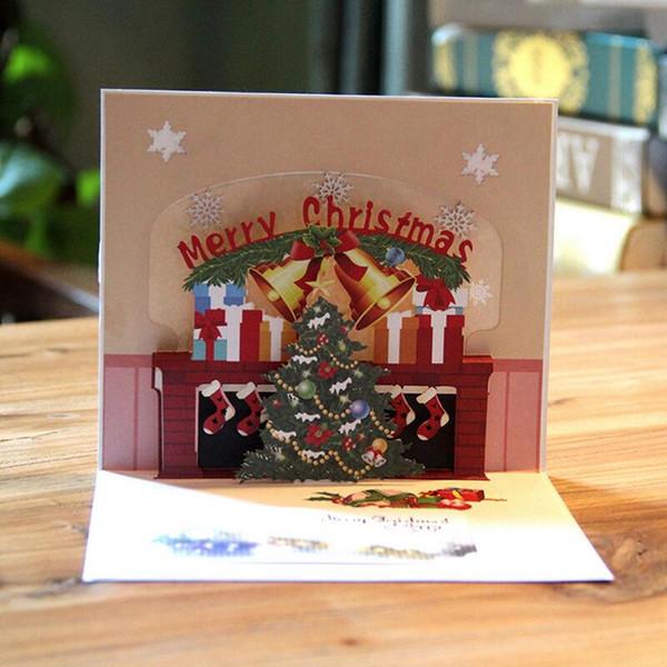 Zarf çıkartmaları ile 3 adet / grup Merry Christmas Pop UP Kartları lazer kesim Yeni Yıl Tebrik Kartları Festivali Hediyeler Kart
