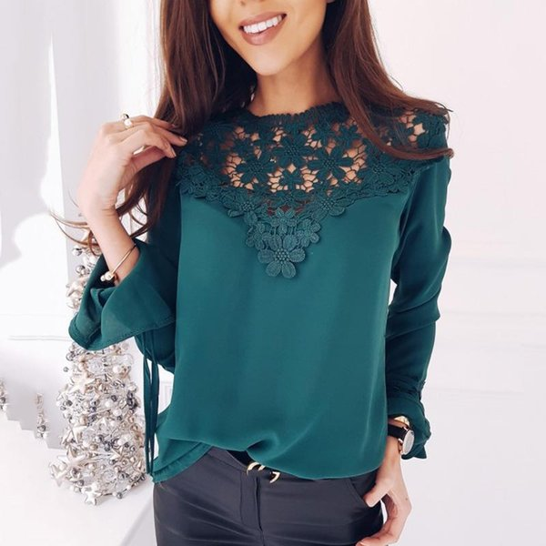 2018 Spring Summer Women Casual Blouse Sweet Hollow Out O-Neck Female Shirts Long Sleeved Elegant Solid Ladies Chiffon Tops