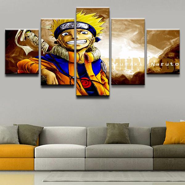 Moderne Wandkunst Leinwand 5 Stücke / Stücke Naruto Animation Gedruckt HD Malerei Bild Modular Für Wohnzimmer Dekoration Kunstwerk