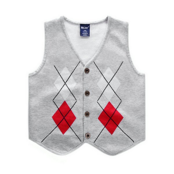 Boys Knit Vest Spring Autumn Sleeveless Diamond Children Tops Outfits Casual Gentleman Baby Costume Kids Waistcoat