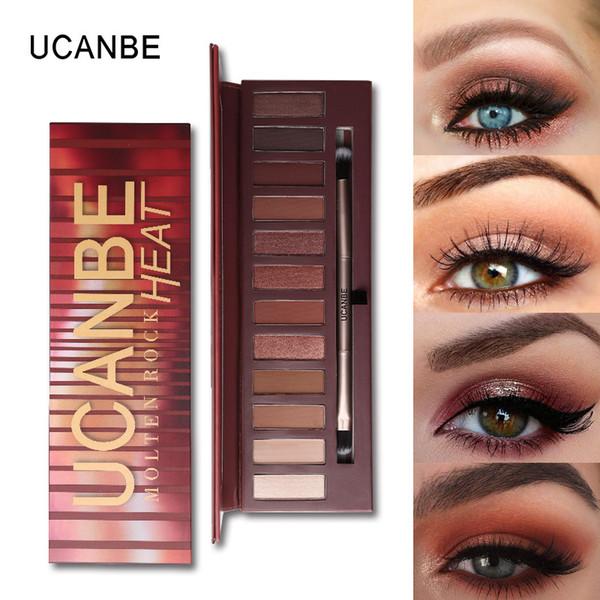 Al por mayor-UCANBE Hot Nude Shimmer Mate Smokey Eyeshadow Palette Kit de maquillaje 12 tonos de calor de la roca fundida Marrón Rojo Highlight Eye Shadow Sleek