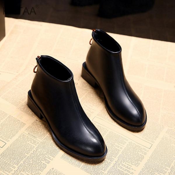 Low Heels Women Winter Ankle Boots Platform Zipper England Student Shoes Ladies 2018 New Fashion Casual Warm Korean Footwear
