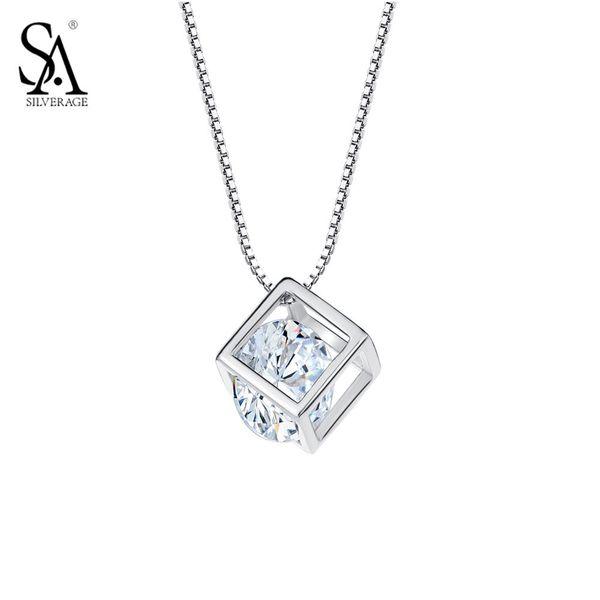 Women/'s New Fashion 925 Sterling Silver Epoxy Cube Stone Pendant Necklace