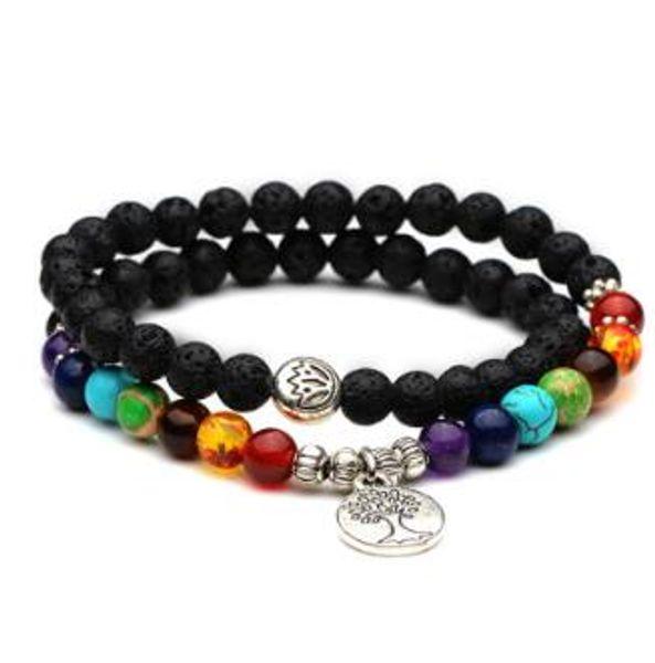 Double layer 7 Chakra Beads Life Tree Charm Bracelet Men Black Lava Natural Stone Yoga Bracelet For Women YWSY105