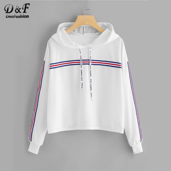 23dd4d2f416 Dotfashion Drawstring Striped Tape Detail White Hoodie Female Hooded Long  Sleeve Casual Top 2018 Spring Autumn