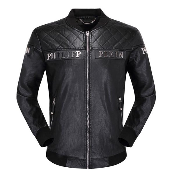 Top Quality Brand Men's PU Faux Leather Jackets Coats Skull Heads Outerwear winter Slim For man Zipper US dollar Designer #669