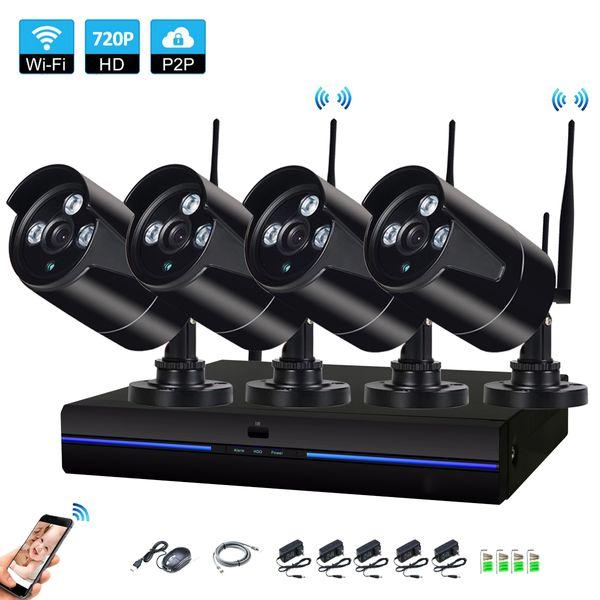 4CH HD Wireless NVR 720P IR Indoor outdoor P2P WIFI 4 PCS 1.0MP CCTV Security Camera System Surveillance Kit