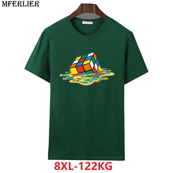 MFERLIER verano hombres camisetas de manga corta 6XL más tamaño grande 7XL 8XL algodón grande geometría tShirt Hipster inspirado azul marino gris
