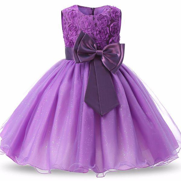 9 Colors Flower Girls Dress Bow Knot Princess Girl Dress for Wedding Party Kids Ball Gown Even Dress 18062902