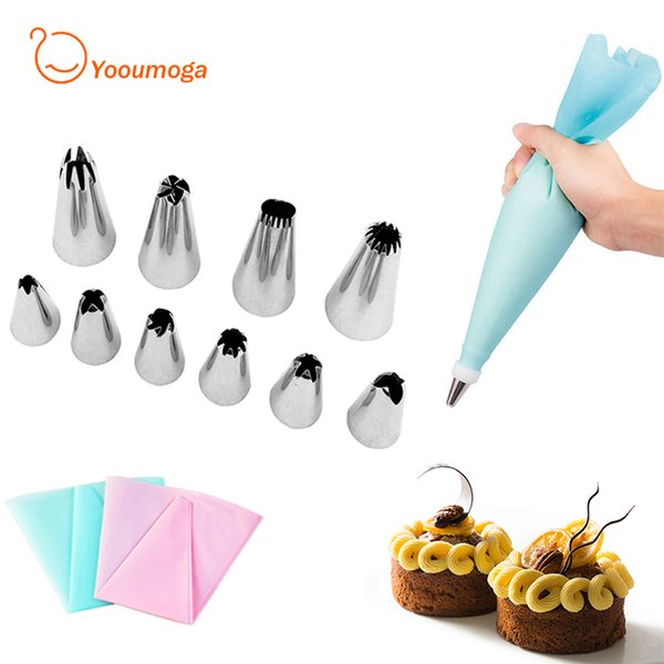Yooumoga 12pcs/set Reusable Pastry Bag with Stainless Steel Nozzle Set Icing Piping Tubes Bakeware Cake Dessert Decorators Tools