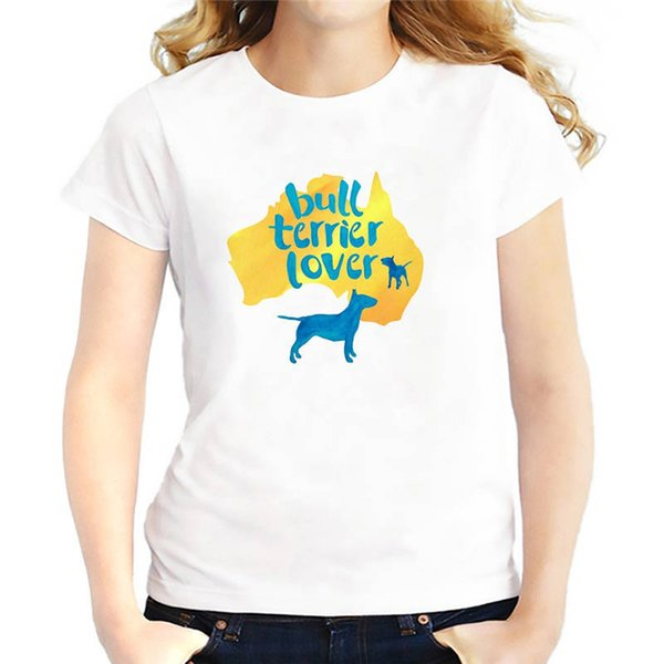 Custom T Shirts Cheap Compression Women O-Neck Short-Sleeve Bull Terrier Dog Lover T Shirts