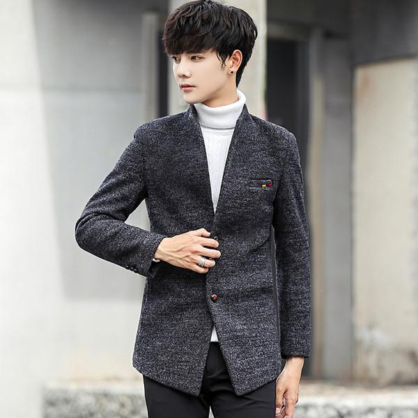 Winter Pure Color Men's Long Sleeve Stand Collar Jackets Wool & Blends Fabric Coats Men Slim Warm S M L XL 2XL 3XL 4XL 5XL