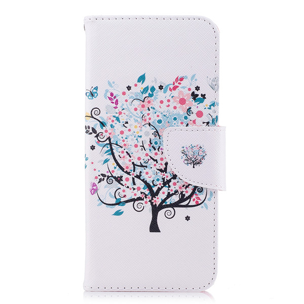 Little Tree Cell Phone Case TPU Back Cases PU Leather Cover Wallet Card Slot Money Holder 165 Models for Option