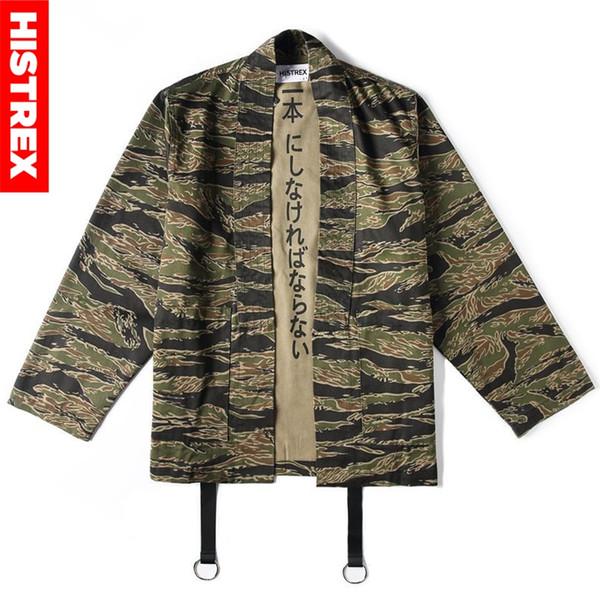 Acquista Giacca Uomo HISTREX Giapponese Kimono Camo Giacche Stile Giapponese Hip Hop Camouflage Open Stitch Kimonos Coat Khaki Streetwear HT9HU # A