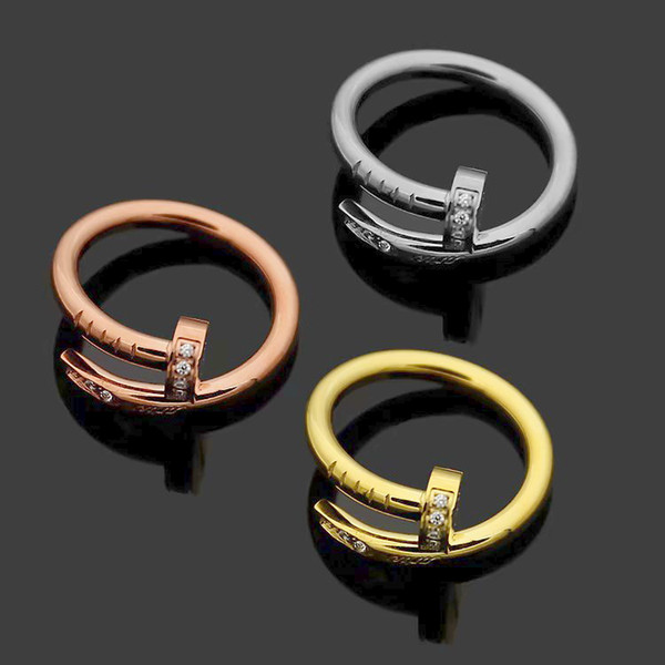 Fashion Lady 316L Titanium steel Single Circles Wrap 3 Color Pegs Diamond Wedding Engagement 18K Gold Plated Rings Size5-9