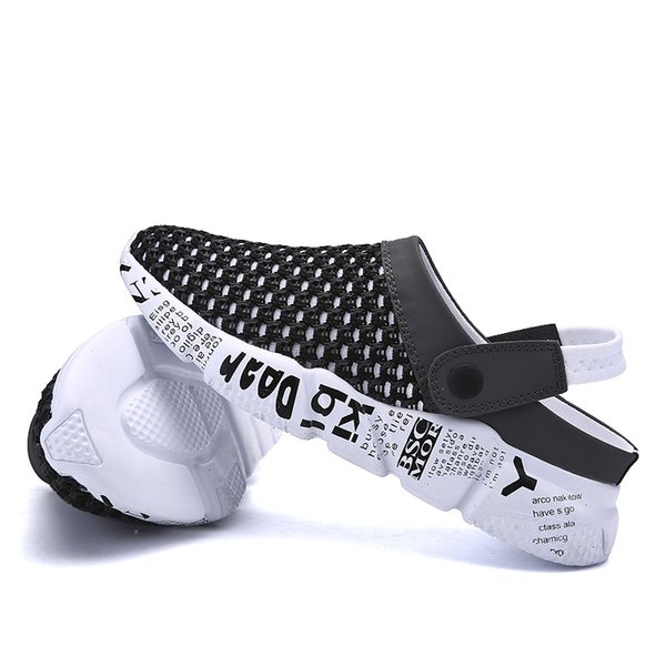 plus size 39-46 Men Sandals Summer Breathable Air Mesh men lighted slippers outdoor Beach mens Shoes Leisure Slippers