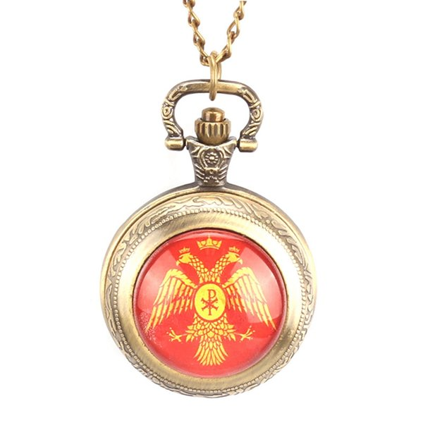 Vintage Bronze Quartz Retro Pocket Watch Steampunk Fob Watches With Necklace Chain For Men Woman Gift Relogio De Bolso