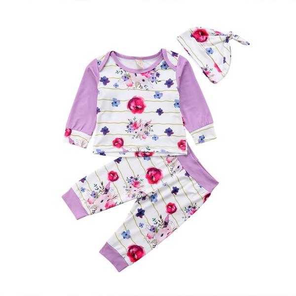 Kış Güz Yenidoğan Bebek Kız Çiçek Şerit Üstleri Pantolon Tayt Şapka 3 Adet Set Mor Çiçek Çizgili Kıyafetler Giysileri