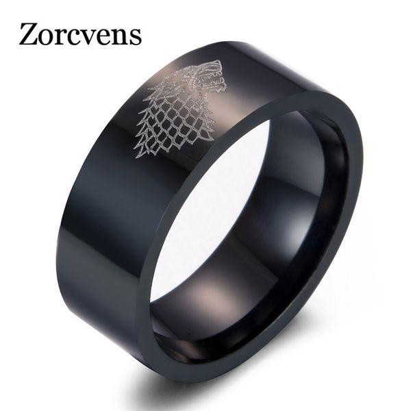 ZORCVENS Novo anel de Aço Inoxidável lobo Casa Stark de Winterfell homens anel