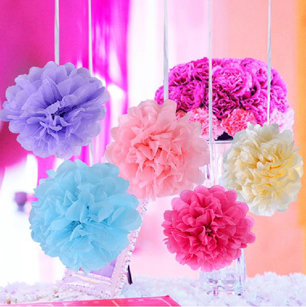 2019 4 16 Pompon Tissue Paper Flower Balls Artificial Plants Fake Flowers Party Decoration Wedding Centerpieces Decor Flower Walls Home Decor From