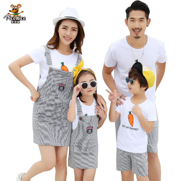 Family Clothes Summer Striped mother daughter dress Family Matching Outfits Father Son T shirt and shorts Family Clothes Sets
