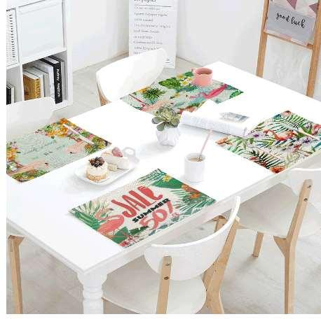 Colorful Gorgeous Flamingo Table Cloth 42*32 CM Cute Beautiful Dignified Foraging Thinking Rest Game Linen Table Flag Decoration