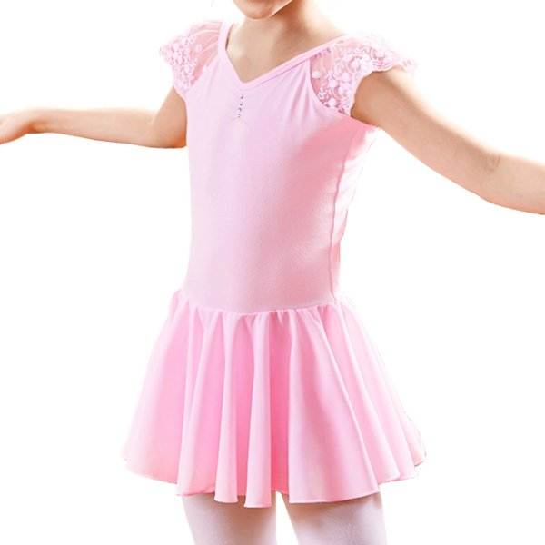 BAOHULU Kids Pink Ballet Dress Tutu Dance Costume Gymnastics Ballet Leotards for Girls Lace Skirt Outfit Birthday Party Dresses