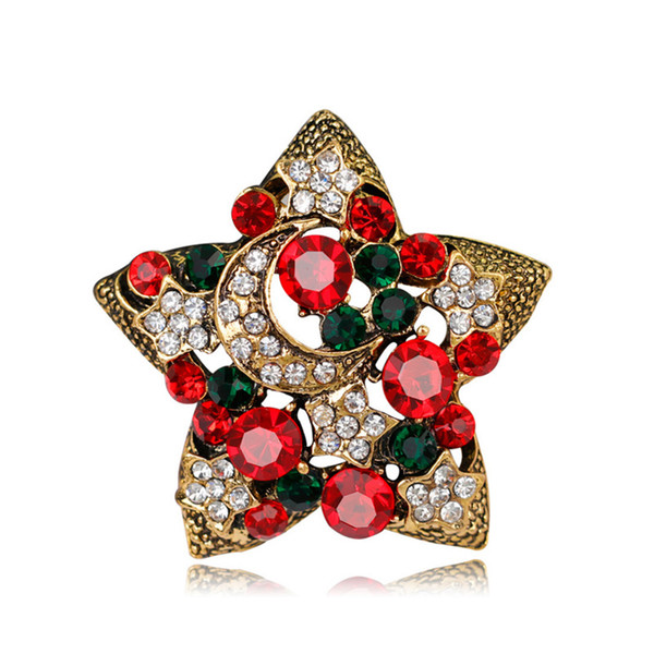 Vintage Rhinestone Gold Silver Plated Christmas Brooch Simple Star Moon Brooch Pins Christmas Gifts Party Ornament Fashion Jewelry