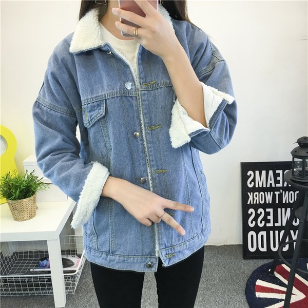 Female jacket Warm winter Denim jacket For Women 2018 New Fashion Coat Wool lining Women Jean Coat Bomber Jackets Basic Tops