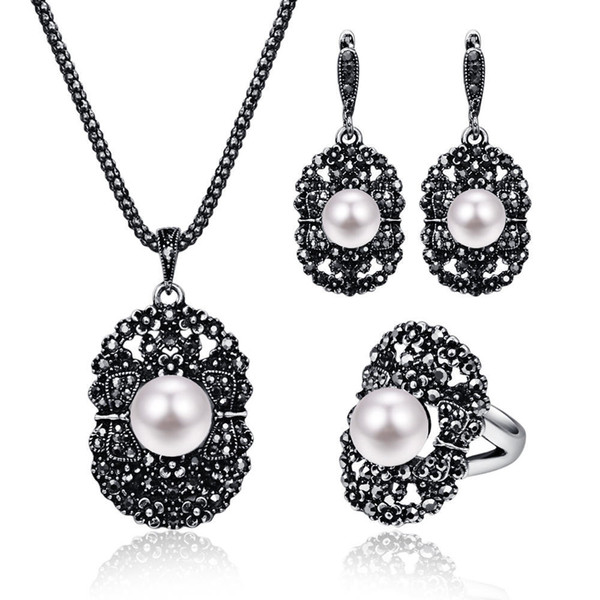 Women Chic Flower Crystal Pearl Pendant Silver Color Necklace Earring Ring Jewelry Set For Party
