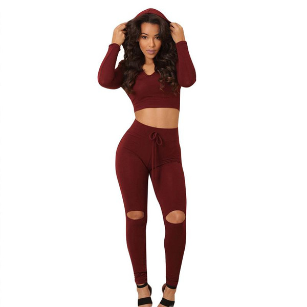 Wholesale- Fashion Women Hooded Tracksuits Long Sleeve Casual Hooded Crop Top And Holes Leggings Tight Bodycon 2 Piece Jumpsuit Rompers