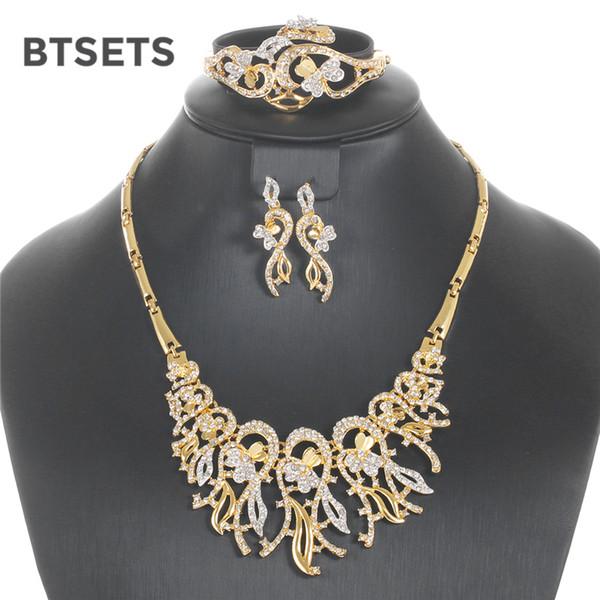 BTSETS Hochzeit Schmuck Sets Für Frauen Gold Farbe Afrikanische Perlen Schmuck-Set Pflanzen Mode Nachahmung Kristall Schmuck Set