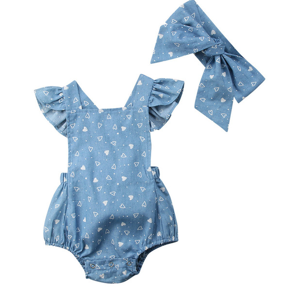 2018 INS baby girl toddler 2piece set outfits Denim heart Romper Onesies Jumpsuits dress + Bow Headband headwrap Backless Ruffle Strap