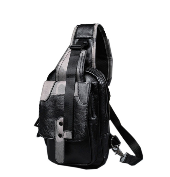 Men PU Leather Camouflage Shoulder Messenger Pack Fashion Travel Casual Pack Motorcycle Sling Chest Bag