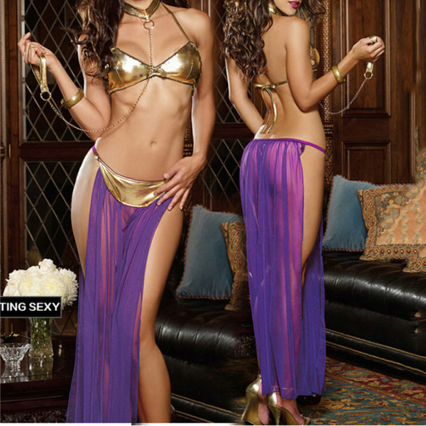 Best-Selling Sexy 3 Piece Set Tempt Lingerie Hot Patent Leather Bra Long Veil Pole Dancing Lingerie Latin Panty Dress Performance Clothing