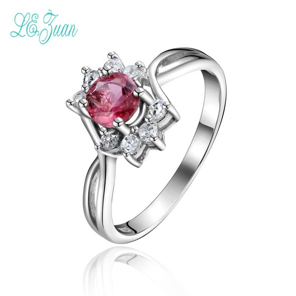 l&zuan S925 Sterling Silver Bridal Wedding Rings For Women Fine Jewelry Oval-Shaped Natural Gems Pink Tourmaline Engagement RingY1883003